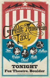 Take a ride with the Great American Taxi, tonight at the Fox Theatre.